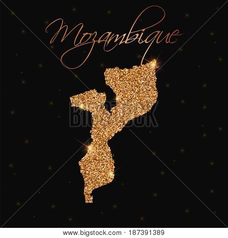 Mozambique Map Filled With Golden Glitter. Luxurious Design Element, Vector Illustration.