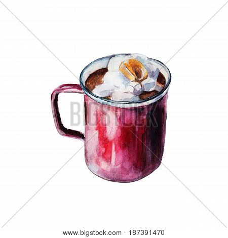 The iron enameled red mug of coffee with white marshmallows. Isolated object on white background watercolor illustration in hand-drawn style.