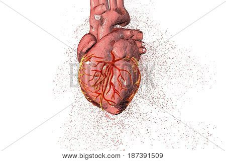 Destruction of heart. Heart disease concept, 3D illustration