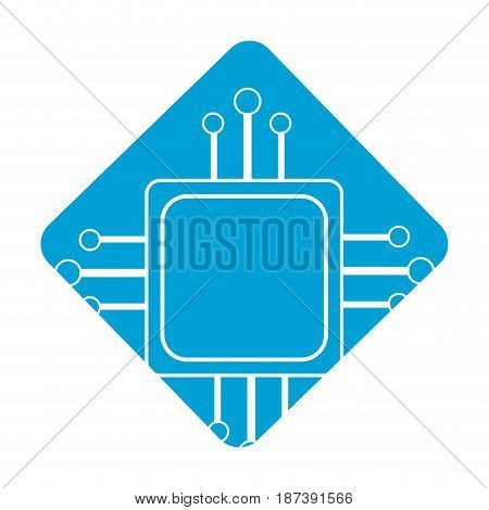 label square digital connections with circuits electronic and magnifying glass, vector illustration