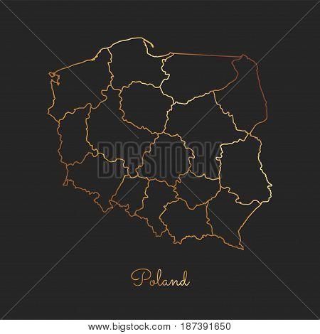 Poland Region Map: Golden Gradient Outline On Dark Background. Detailed Map Of Poland Regions. Vecto