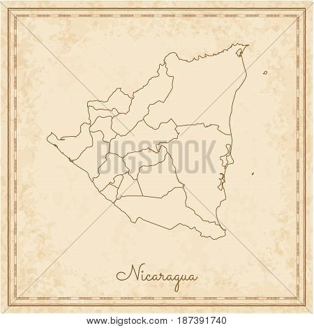Nicaragua Region Map: Stilyzed Old Pirate Parchment Imitation. Detailed Map Of Nicaragua Regions. Ve