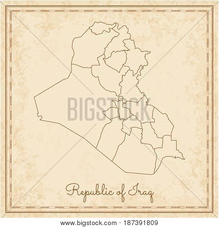 Republic Of Iraq Region Map: Stilyzed Old Pirate Parchment Imitation. Detailed Map Of Republic Of Ir