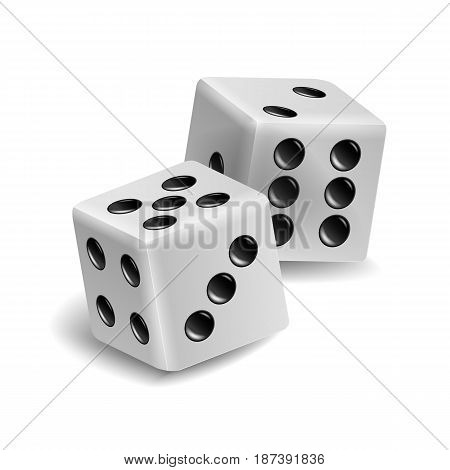Playing Dice Vector Set. Realistic 3D Illustration Of Two White Dice With Shadow