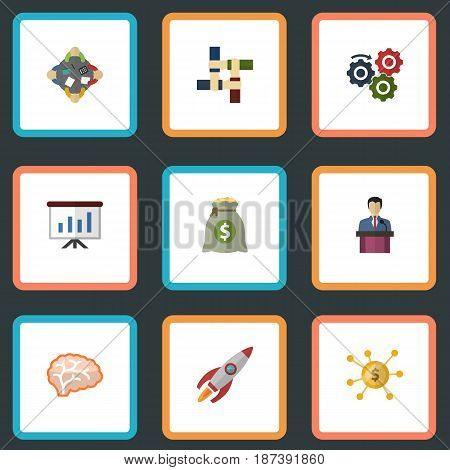 Flat Gear, Mind, Businessman And Other Vector Elements. Set Of Idea Flat Symbols Also Includes Mind, Leader, Businessman Objects.