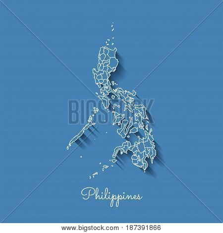 Philippines Region Map: Blue With White Outline And Shadow On Blue Background. Detailed Map Of Phili