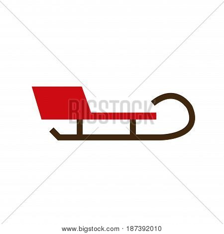 wooden christmas sledge santa transport vector illustration
