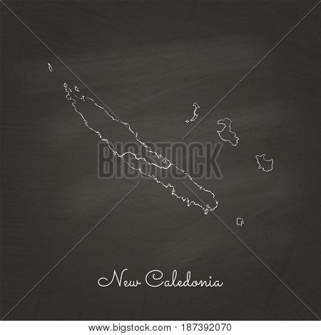 New Caledonia Region Map: Hand Drawn With White Chalk On School Blackboard Texture. Detailed Map Of