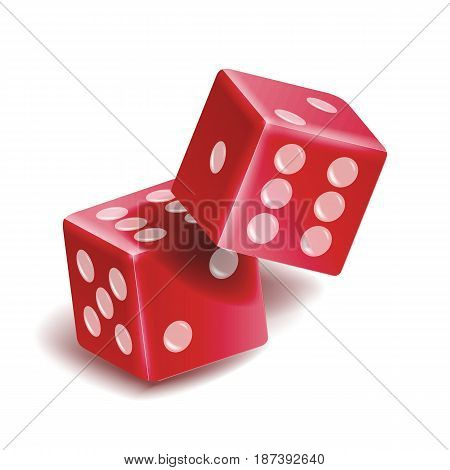 Playing Dice Vector Set. Realistic 3D Illustration Of Two Red Dice With Shadow