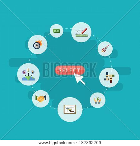 Flat Administration, Design, Rocket And Other Vector Elements. Set Of Idea Flat Symbols Also Includes Coin, Limit, Leader Objects.