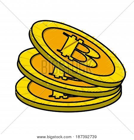digital bitcoin currency and electronic financial, vector illustration