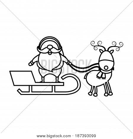 christmas santa claus reindeer sledge outline vector illustration