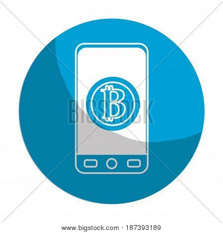sticker smartphone with bitcoin currency symbol inside, vector illustration