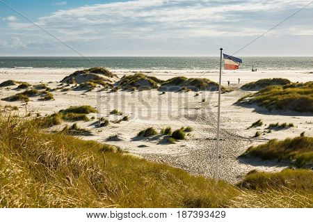 Dunes on the North Sea coast on the island Amrum Germany.