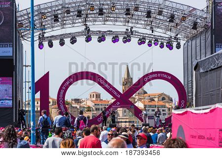 Alghero Italy - May 05 2017: Giro d'Italia stage with Alghero steeple on the background