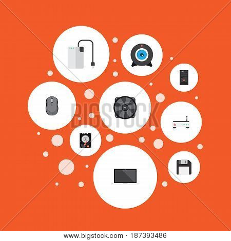Flat Web Cam, Control Device, Diskette And Other Vector Elements. Set Of Notebook Flat Symbols Also Includes Mouse, Laptop, Cooler Objects.