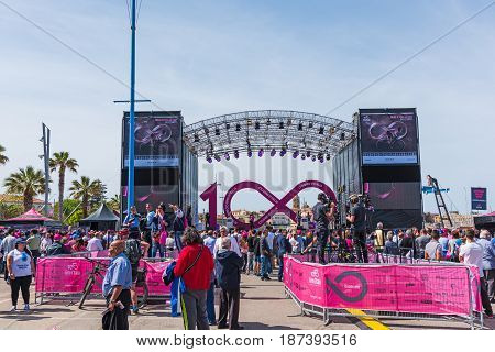 Alghero Italy - May 05 2017: Crowd by 100th Giro d'Italia stage