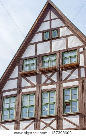 The Half timbered house in front of the Kraemer bridge in Erfurt