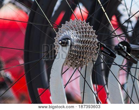 close up of a professional bike pinion