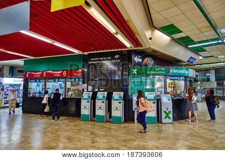 Tel Aviv - 20.04.2017: Central Bus Station Information Desk, Tel Aviv