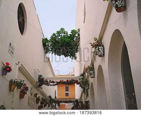 Alley de Carmen is an old narrow street in the center of Torremolinos La Carihuela district. It is decorated by pots with flowers and garlands of flowers