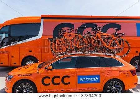 Alghero Italy - May 05 2017: CCC Sprandi Polkowice team bikes on the opening day of Giro d'Italia