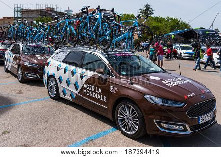 Alghero Italy - May 05 2017: AG2R La Mondiale team cars on 100th Giro d'Italia opening day