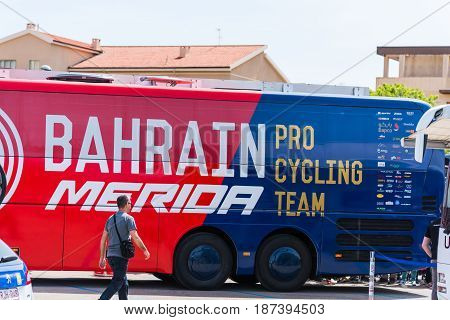 Alghero Italy - May 05 2017: Bahrain Merida team bus on 100th Giro d'Italia opening day