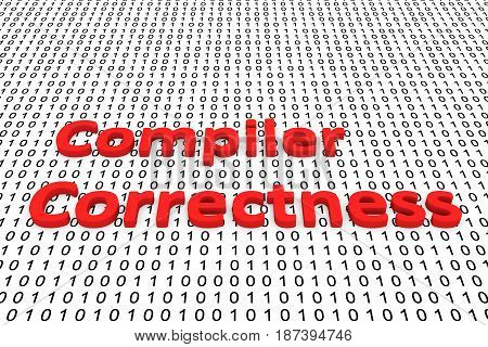 Compiler correctness in the form of binary code, 3D illustration
