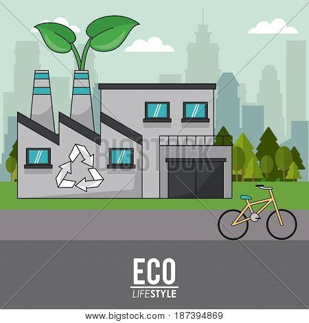 eco lifestyle building industrial recycle bike transport sustainable vector illustration