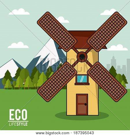 eco lifestyle windmill rural energy clean landscape vector illustration