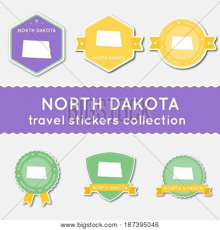 North Dakota Travel Stickers Collection. Big Set Of Stickers With Us State Map And Name. Flat Materi