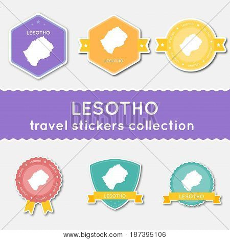Lesotho Travel Stickers Collection. Big Set Of Stickers With Country Map And Name. Flat Material Sty