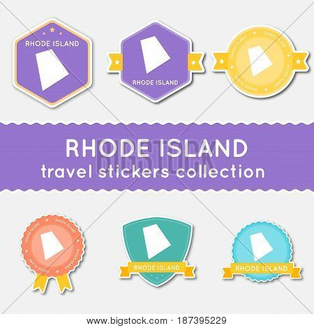 Rhode Island Travel Stickers Collection. Big Set Of Stickers With Us State Map And Name. Flat Materi