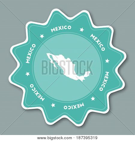 Mexico Map Sticker In Trendy Colors. Star Shaped Travel Sticker With Country Name And Map. Can Be Us