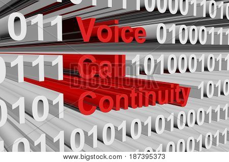Voice call continuity in the form of binary code, 3D illustration
