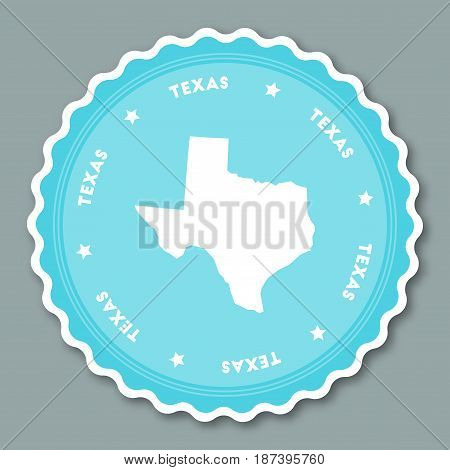 Texas Sticker Flat Design. Round Flat Style Badges Of Trendy Colors With The State Map And Name. Us