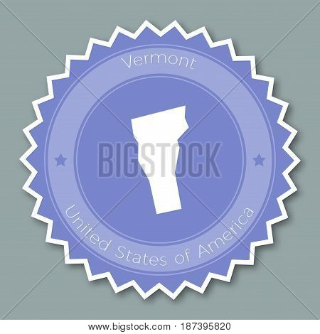 Vermont Badge Flat Design. Round Flat Style Sticker Of Trendy Colors With The State Map And Name. Us