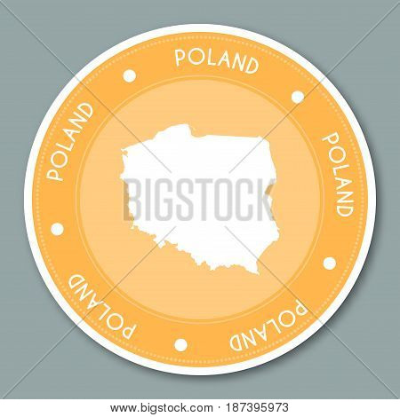 Poland Label Flat Sticker Design. Patriotic Country Map Round Lable. Country Sticker Vector Illustra