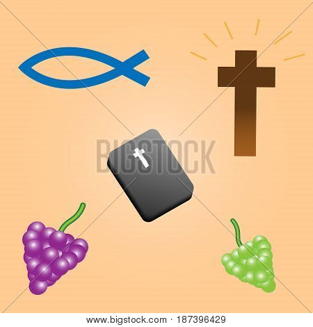 Vector clipart biblical composition with a brown cross black bible with a white cross blue fish and bunches of grapes lilac and green on a beige gradient background.