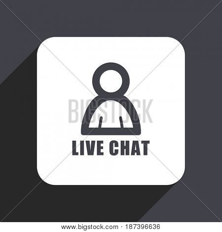 Live chat flat design web icon isolated on gray background