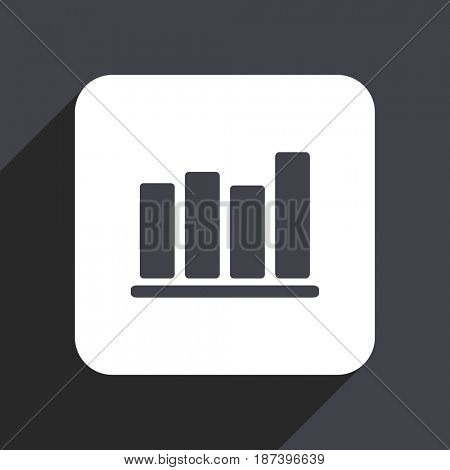 Bar chart flat design web icon isolated on gray background