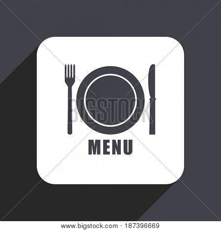 Menu flat design web icon isolated on gray background