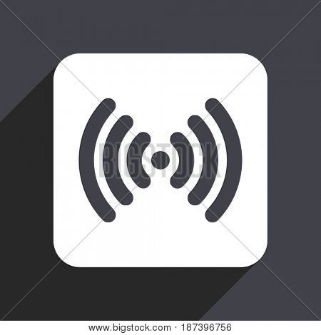 Wifi flat design web icon isolated on gray background