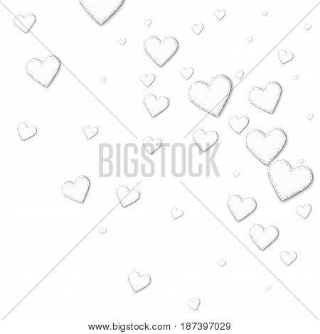 Cutout White Paper Hearts. Random Gradient Scatter With Cutout White Paper Hearts On White Backgroun