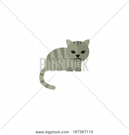Flat Cat Element. Vector Illustration Of Flat Feline Isolated On Clean Background. Can Be Used As Feline, Cat And Claws Symbols.