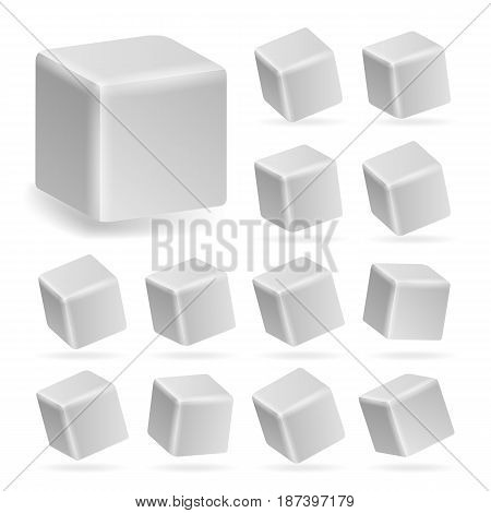 White Cube 3d Set Vector. Perspective Models Of A Cube Isolated