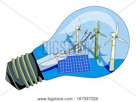 solar panel and windmill in abstract lamp