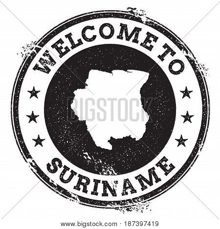 Vintage Passport Welcome Stamp With Suriname Map. Grunge Rubber Stamp With Welcome To Suriname Text,