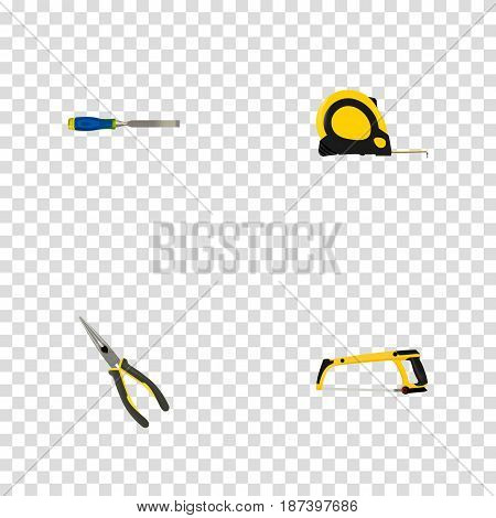 Realistic Arm-Saw, Length Roulette, Nippers And Other Vector Elements. Set Of Instruments Realistic Symbols Also Includes Saw, Measure, Chisel Objects.